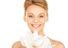 Beautiful woman with madonna lily Royalty Free Stock Photos