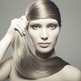 Beautiful woman with magnificent hair royalty free stock photo