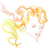 Beautiful woman with magnificent hair. Illustration Royalty Free Stock Image