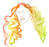Beautiful woman with magnificent hair. Illustration Royalty Free Stock Photos