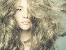 Beautiful woman with magnificent hair Stock Images