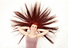Beautiful woman with magnificent hair Stock Photos