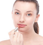 Beautiful woman with make up brush Royalty Free Stock Images