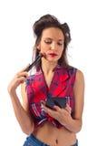 Beautiful woman with  make-up brush on white background Royalty Free Stock Image