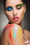 Beautiful woman. make-up colour paint painting, Royalty Free Stock Image