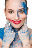 Beautiful woman. make-up colour paint painting, Royalty Free Stock Photo