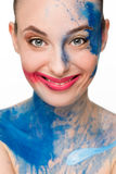 Beautiful woman. make-up colour paint painting, Royalty Free Stock Images