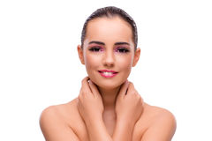 The beautiful woman in make up concept isolated on white Stock Images