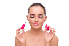 The beautiful woman in make up concept isolated on white Royalty Free Stock Photography