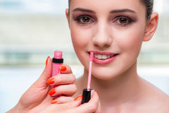 The beautiful woman during make-up cosmetics session Stock Images