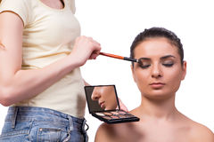 The beautiful woman during make-up cosmetics session Stock Photos
