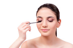 The beautiful woman during make-up cosmetics session Royalty Free Stock Photo