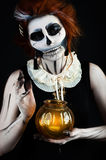 Beautiful woman with make-up skeleton Stock Images