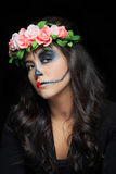 Beautiful woman with make-up skeleton stock photo