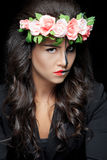 Beautiful woman with make-up skeleton royalty free stock image