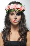 Beautiful woman with make-up skeleton stock image
