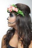 Beautiful woman with make-up skeleton stock photos
