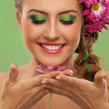 Beautiful woman with makeup and flowers royalty free stock photos