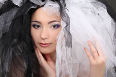 Beautiful woman with makeup and material Stock Photo