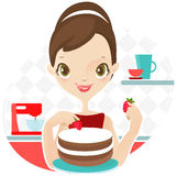 Beautiful woman making cake Royalty Free Stock Photo