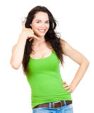 Beautiful woman making call me sign Royalty Free Stock Photo