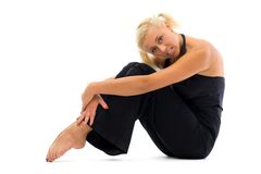 Beautiful woman is making exercises Stock Images