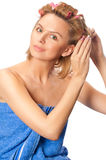 Beautiful woman making hairstyle Royalty Free Stock Image