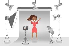 Beautiful woman making photoshoot stock illustration