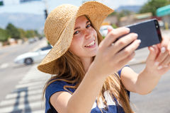Beautiful woman making selfie Royalty Free Stock Photo