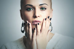 Beautiful Woman with Manicure.Beauty Girl.Shellac.Nail Design Stock Photography