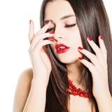 Beautiful Woman Manicure and Makeup. Perfect skin Stock Photos