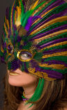 Beautiful Woman in Mardi Gras Mask and Makeup. A portrait of a pretty woman wearing a bright, colorful feather mask with matching makeup Stock Images