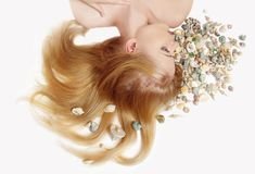 Beautiful woman with marine cockleshell Royalty Free Stock Photos