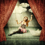 Beautiful woman marionette. On stage puppet theater Royalty Free Stock Images