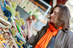 Beautiful woman at market Stock Image