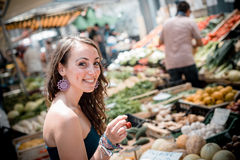 Beautiful woman at the market Royalty Free Stock Photo