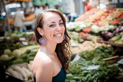 Beautiful woman at the market Royalty Free Stock Image