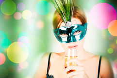 Beautiful woman with mask Royalty Free Stock Photography