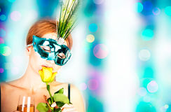 Beautiful woman with mask Royalty Free Stock Photos