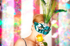 Beautiful woman with mask Royalty Free Stock Images