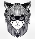 Beautiful woman in a mask with cat ears portriat. Stock Photo