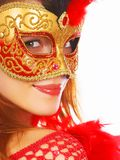 Beautiful woman with mask royalty free stock image