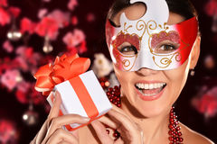 Beautiful woman in  mask. Portrait of a beautiful woman in a mask Royalty Free Stock Photo