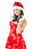 Beautiful woman in masquerade santa costume. Royalty Free Stock Image