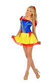 Beautiful woman in masquerade snow white dress. stock photography