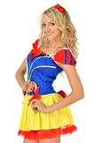 Beautiful woman in masquerade snow white dress. Stock Images