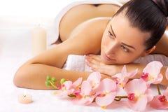 Beautiful woman in a massage salon Royalty Free Stock Image
