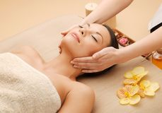 Beautiful woman in massage salon Royalty Free Stock Photography