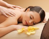 Beautiful woman in massage salon Royalty Free Stock Images