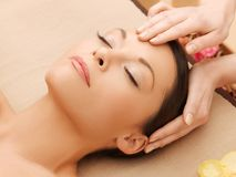Beautiful woman in massage salon Stock Photo